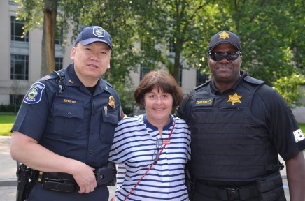 Jane with Police Chief Seto and Sheriff Clayton