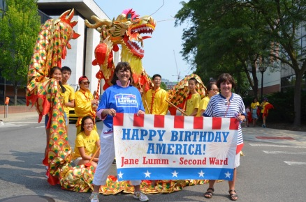 July 4th parade with the Chinese school marchers