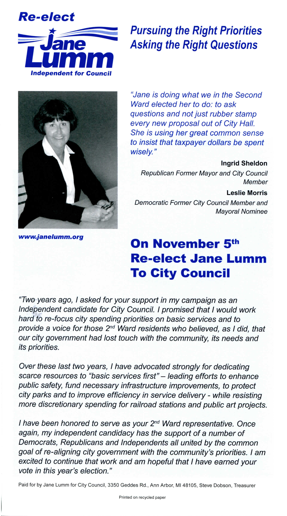 Palm Card Side 1 | Re-elect Jane Lumm