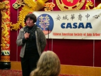 Jane addressing a gathering of the Chinese American Society of Ann Arbor